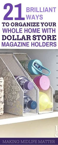Get ready for an organized school year with these 21 great ideas for organizing your whole home with dollar store magazine holders. home diy organizations Dollar Store Magazine Holder Organization Tips Organisation Hacks, School Organization, Storage Organization, Dollar Store Organization, Magazine Organization, Small Home Organization, Diy Storage, Household Organization, Bedroom Organization