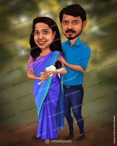 Family caricature, Custom Caricatures illustration from photos, Indian caricature, Caricature Wedding Gifts, Caricature Invite, guests sign in board, kerala couples, infant, newborn, baby, nitisebanart Wedding Caricature, Caricatures, Kerala, Invite, Wedding Gifts, Infant, Sign, Photo And Video, Couples