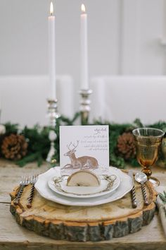 Wood Round Chargers with Hand Drawn Deer Escort Cards | Jacque Lynn Photography and Michelle Leo Events | Enchanting Woodland Wedding Shoot with Rustic Winter Details