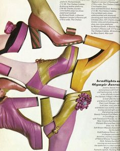 aebf902a4a A series of 1970s shoes. Which one's your favorite? 70s Shoes, Shoes Ads