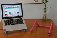 PVC support for laptop.  Would be great for the kids to use on the floor.
