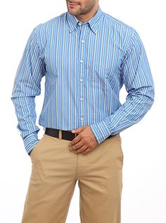 Here is a perfect plush stitched medium blue formal shirt which is fit for your official meeting or long official hours. It is coming from the house of Color Plus which is well known for its quality product. This medium blue colored shirt is tailored fit which ensures the user will get the utmost comfort level. The formal shirt has a stripe design and features a full sleeve and regular collar. All these features combined together make it a professional shirt.