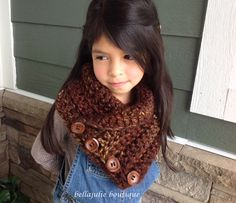 Children Crochet Cowl Chunky Wool Cowl by BellaJulieBoutique