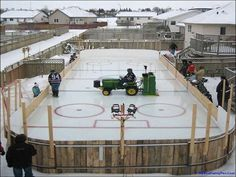 John Deere garden tractor with a Zamboni 100 on an outdoor Backyard hockey rink Backyard Hockey Rink, Backyard Ice Rink, Outdoor Rink, Ice Hockey Rink, Hockey Mom, Hockey Stuff, Hockey Rules, Hockey Gear, Backyard Sports