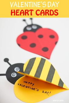 Valentine heart cards for kids to make: ladybug and bee cards #valentinesday #valentinescard #heartcard #heart
