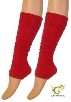 Crazy Chick Red Ruched Top Leg Warmer