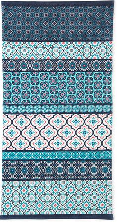 OUTDOOR OASIS Outdoor Oasis Morrocon Tiles 30x60 Printed Beach Towel, turquoise, teal, pattern, aesthetic, teal theme  ( affiliate )