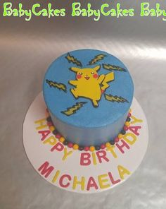Pikachu themed birthday cake.