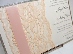 UMA3A Glitter and Lace Wedding Invitations by LavenderPaperie1, $600.00  Mauve and lt pink!