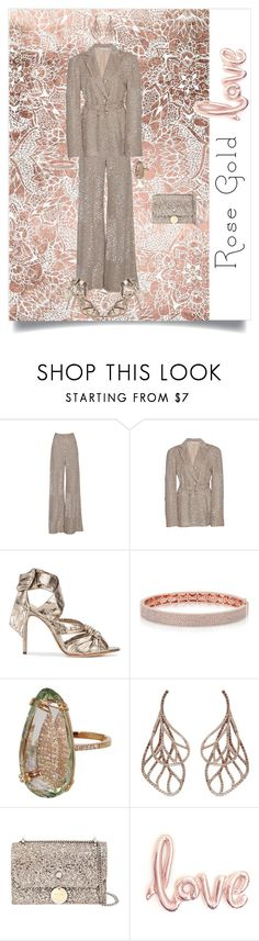 """Rose Gold Love"" by shoecraycray ❤ liked on Polyvore featuring Jonathan Simkhai, Alexandre Birman, Suzanne Kalan, Anyallerie and Jimmy Choo"