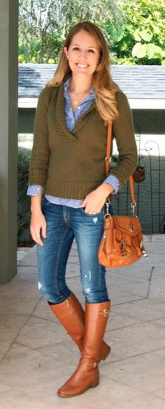 Have a similar sweater in plum...  Olive sweater, blue gingham, cognac riding boots
