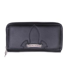 a1315505d188 Chrome Hearts Flare Knee Leather Zipper Wallet Black