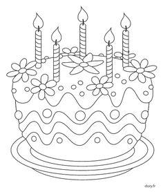 Coloriage à imprimer, un gâteau d'anniversaire