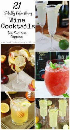 21 Totally Refreshing Wine Cocktails for Summer Sipping ~ there's sure to be a few to help keep you cool! www.thekitchenismyplayground.com