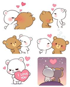 Cute Couple Cartoon, Cute Cartoon Pictures, Cute Love Pictures, Cute Love Gif, Chibi Cat, Cute Chibi, Calin Gif, Gif Mignon, Cute Bear Drawings