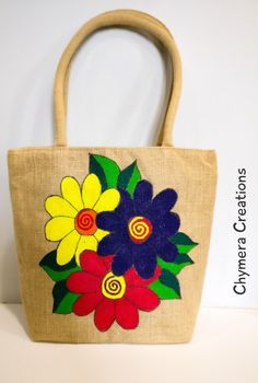 Ecofriendly hand painted with unique blend of colours on premium grade jute tote bag