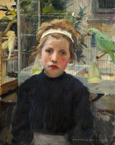 harrington mann(1864–1937), the bird cage, 1907. oil on panel, 46.1 x 37.8 cm. national museums northern ireland, uk http://www.bbc.co.uk/arts/yourpaintings/paintings/the-bird-cage-122470