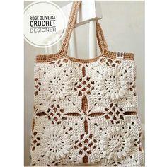 crochet bag, no pattern Crochet Purse Patterns, Crochet Tote, Crochet Blocks, Crochet Handbags, Crochet Purses, Crochet Squares, Knit Crochet, Mode Crochet, Crochet Shell Stitch