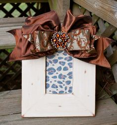 Cream handpainted frame with brown damask bow by twosisters76, $40.00
