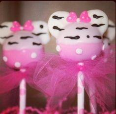 Minnie Mouse Cake Pops..... they are kind of small but we could make alot of them.... or at least for the little ones because they are so cute. or put some plastic wrap as party favors