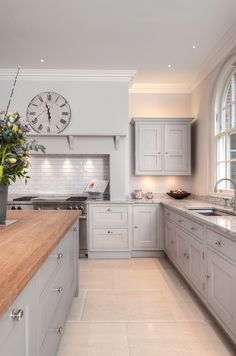 Lewis Alderson & Co, Bath Kitchen. These worktops are a mix of granite and solid oak which correlate with the limestone flooring and hand-painted cabinets. Open Plan Kitchen Living Room, Home Decor Kitchen, Interior Design Kitchen, New Kitchen, Home Kitchens, 1930s Kitchen, Modern Country Kitchens, Shaker Kitchen, Kitchen Dining