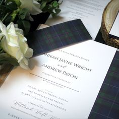 This simple understated design is timeless...One of our newer designs featuring classic white stationery with an elegant black typeface, complimented with a soft grey envelopes and the rich and traditional Spirit of Bannockburn tartan. Stationery Design, Wedding Stationery, Wedding Invitations, Tartan Wedding, Envelope Liners, Classic White, Simple Designs, Envelopes, Thank You Cards