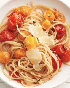 "We prefer cherry tomatoes to grape for sauteing; they break down better, creating a light yet luscious sauce. Similar to ""One Pan Pasta"" but pasta is cooked separately."