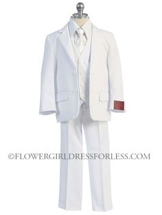 FK_615 - Boys Suit Style Suit Style 615- WHITE- 5 Piece Suit - Boys First Holy Communion Suits - Flower Girl Dress For Less