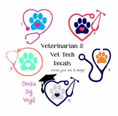 Veterinarian or Vet Tech Stethoscope Vinyl Decal - Choose your size & design!