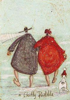 A Sleighful of Jinglers by Sam Toft – Sam Toft's Website Illustrations, Illustration Art, Arte Country, Encaustic Art, Whimsical Art, Rock Art, New Art, Graphic Art, Christmas Cards