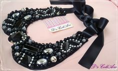 Black & Pearls bib statement necklace