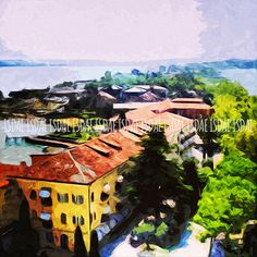 Sirmione, Italy, Italian Landscape, Village, Art Printable, Illustration, Digital Painting, Poster, ISDAE, digital file, INSTANT DOWNLOAD