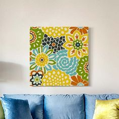 Button Bloom Floral Canvas Wall Art