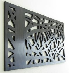 "$300  Modern Wall Art - Eclipsed by Nature - ""Through the Pine"" in Rich Ebony - Handmade and signed by the artist - Ready to Hang - 47"" x 23"" -"