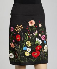 Another great find on #zulily! Black Floral Embroidered Pencil Skirt by La Cera #zulilyfinds