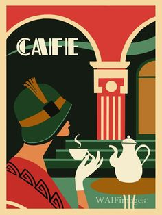 Art Deco Cafe Style - cute style poster ideal for the wall or a card artdecoartwork Cafe Posters, Art Deco Posters, Poster Prints, Fine Art Posters, Design Poster, Art Design, Graphic Design, Retro Poster, Vintage Posters