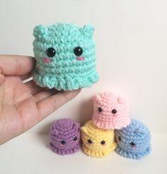 Mini Octopus Plushie - Flapjack Octopus Plushies - Octopus Gift - Pastel Crochet Amigurumi Octopus Toy - Cute Pincushion