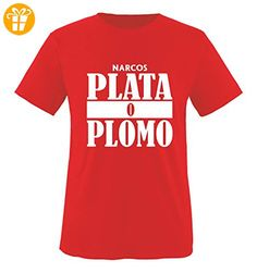 Comedy Shirts - PLATA O PLOMO - NARCOS - Herren T-Shirt - Rot / Weiss Gr. L - Shirts mit spruch (*Partner-Link)