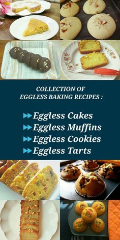 Collection of eggless baking recipes. Bake soft and moist cakes, chewy cookies, fluffy muffins or the popular sweet treat – cupcakes BUT WITHOUT EGGS. Here is a collection of my tried and tested eggless baking recipes. Eggless Desserts, Eggless Recipes, Eggless Baking, Baking Recipes, Dessert Recipes, Eggless Vanilla Cupcakes, Eggless Muffins, Cake Recipes, Baking Tips