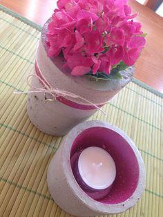 Betonvase und Teelicht mit metallic-pink