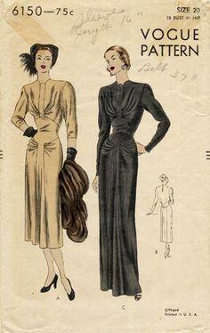 Vintage Sewing Pattern Ultra RARE Vogue Beautiful Detailed Dress (G) 1940s Evening Dresses, Evening Dress Patterns, Vintage Dress Patterns, Clothing Patterns, Vintage Dresses, Vintage Outfits, Vintage Fashion, 1940s Fashion, Vintage Vogue