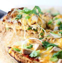 Chicken Enchilada Cauliflower Crust Pizza