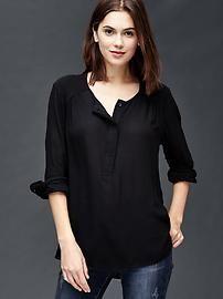 Shirred long sleeve blouse
