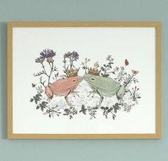 Kissing frogs print - Sian Zeng