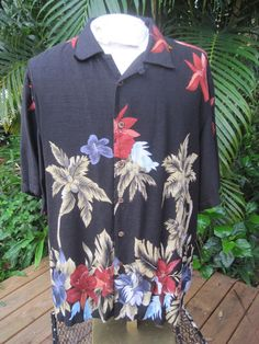 HAWAIIAN Aloha SHIRT XL pit to pit 26 CARIBBEAN JOE rayon tropical floral foliag #CaribbeanJoe #Hawaiian