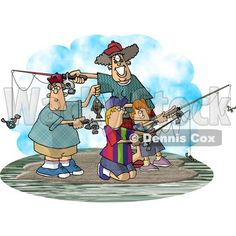 pictures a family fishing | Family Fishing Together On an Island Clipart Picture © Dennis Cox ...
