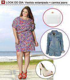 Inspiradas pelo post de ontem do blog, olha só o look que preparamos: vestido estampado com camisa jeans por cima! Por ser versátil, você ainda pode combinar o look com sapatilhas + bolsa casual! Gostaram?