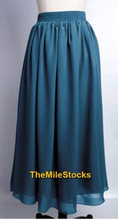 Sexy-Elegant-Double-Chiffon-Pleated-Long-Maxi-Dress-Skirt-Women-Lady-Beach-Girl