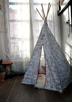 DIY bricolage : fabriquer un tipi pour ses enfants , en suivant son pas à pas en image gratuit !