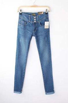 #Aprilwe  Three-button High-waist Pencil Jeans